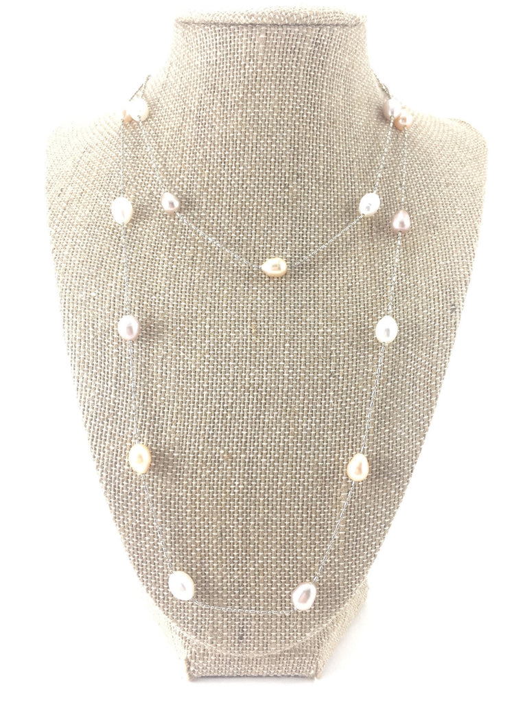 Pearl Station Necklace - Pick a Color