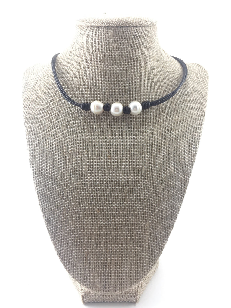 Freshwater Pearl Leather Choker - Pick a Color