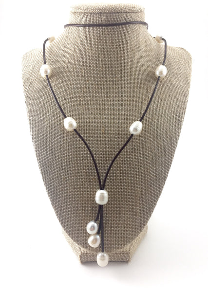 Leather Pearl Lariat Necklace