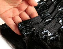 "clip in hair extensions #1b natural off Black 20"" 130g Sandimez Hair clip in hair extensions"
