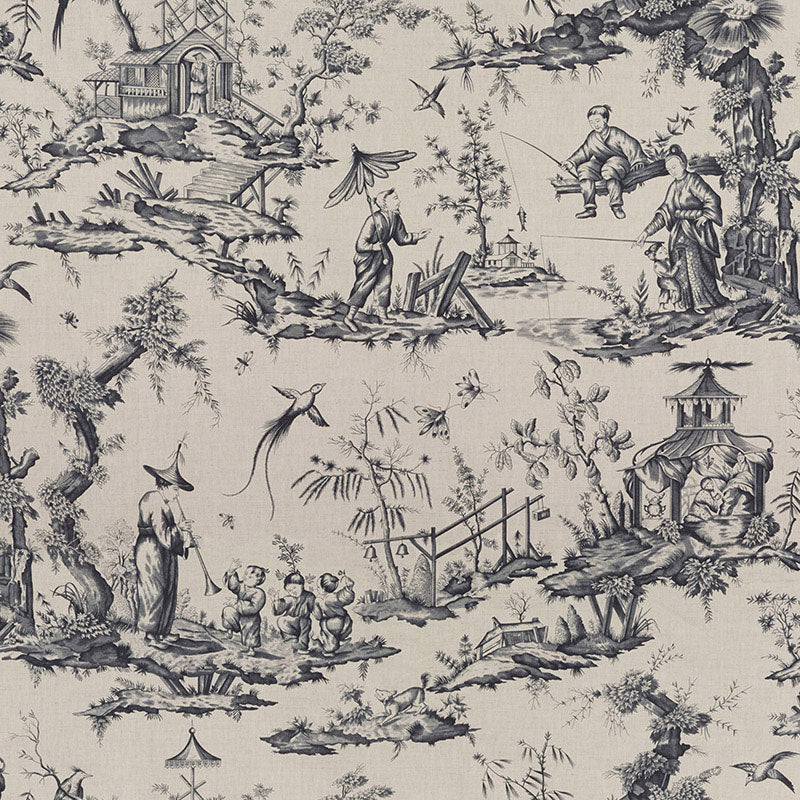 Schumacher Fabric 175803 Shengyou Toile Charcoal