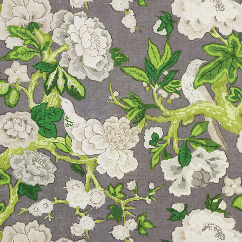 Schumacher Fabric 175872 Bermuda Blossoms Slate