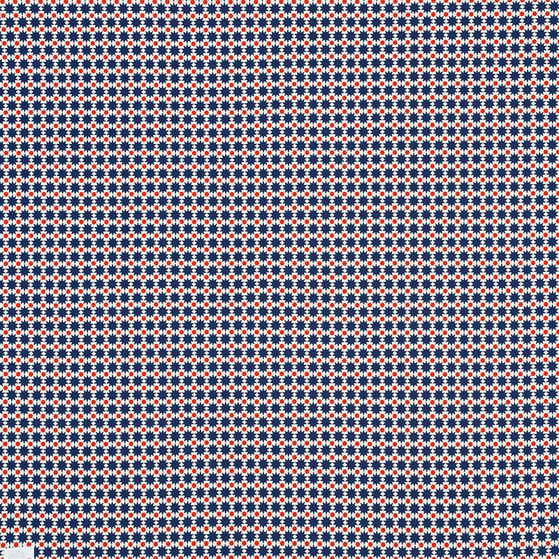 Schumacher Fabric 176550 Cosmos II Navy & Red