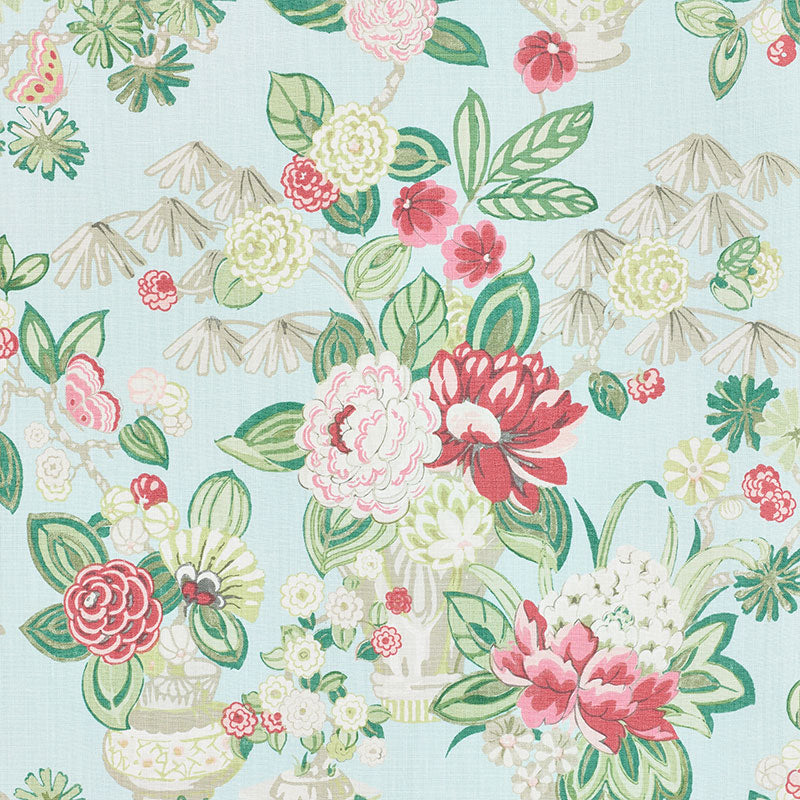 Schumacher Fabric 177292 Bouquet Chinois Sky