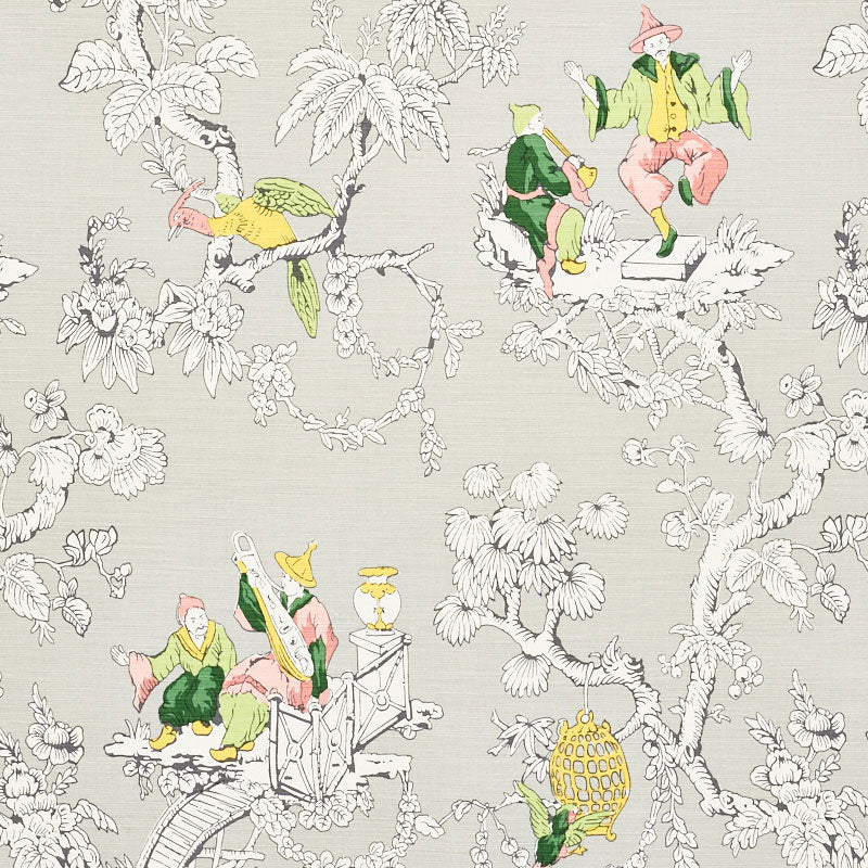 Schumacher Fabric 177421 Chinoiserie Moderne Soft Grey