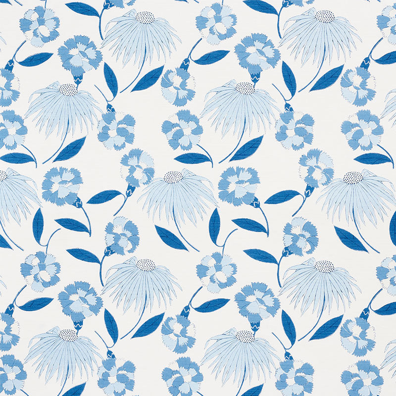 Schumacher Fabric 177852 Bouquet Toss Afternoon Blue - Inside Stores
