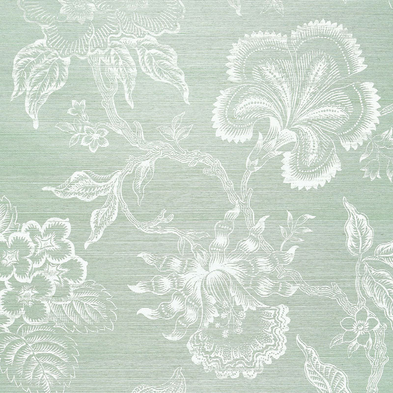 Schumacher Wallpaper 5006092 Hothouse Flowers Sisal Seaglass & Chalk - Inside Stores