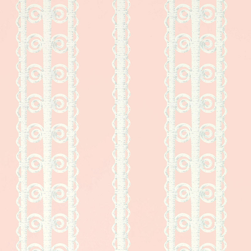Schumacher Wallpaper 5007721 Wicker Stripe Frangipani - Inside Stores