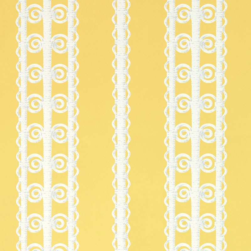 Schumacher Wallpaper 5007722 Wicker Stripe Lemon Blossom - Inside Stores