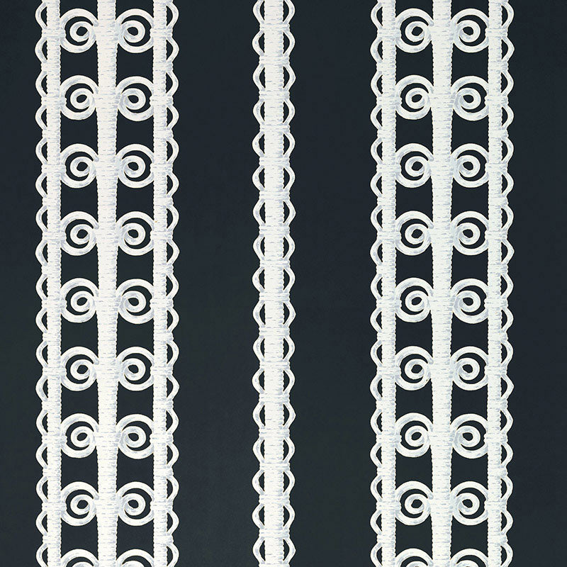 Schumacher Wallpaper 5007724 Wicker Stripe Licorice - Inside Stores