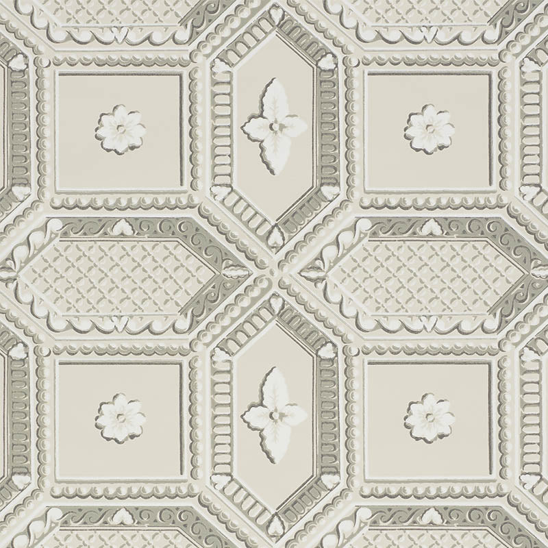 Schumacher Wallpaper 5009901 Lacunaria Stone - Inside Stores