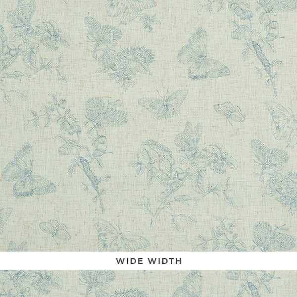 Schumacher Wallpaper 5011831 Baudin Butterfly Linen Blue