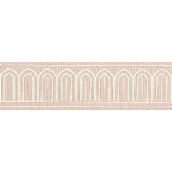 Schumacher Fabric Trim 70764 Arches Embroidered Tape Blush - Inside Stores