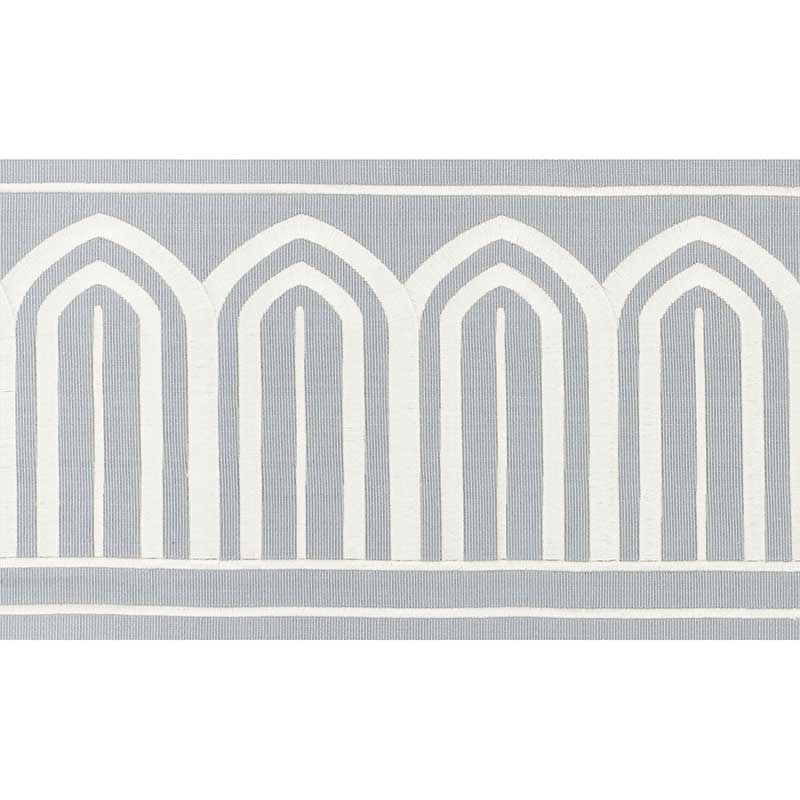 Schumacher Fabric Trim 70773 Arches Embroidered Tape Wide Sky - Inside Stores