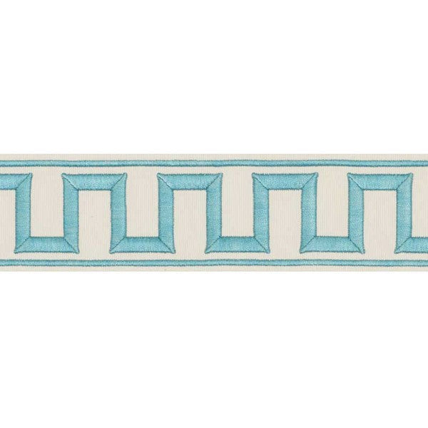 Schumacher Fabric Trim 70793 Greek Key Embroidered Tape Aqua - Inside Stores