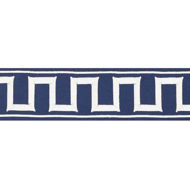 Schumacher Fabric Trim 70797 Greek Key Embroidered Tape Marine - Inside Stores