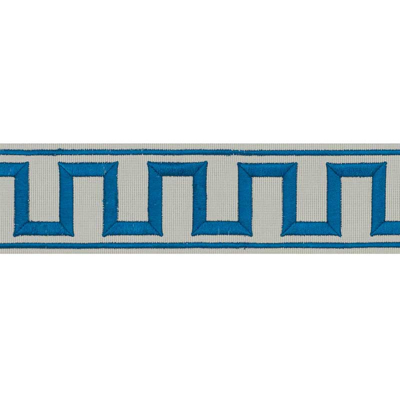 Schumacher Fabric Trim 70799 Greek Key Embroidered Tape Peacock & Mineral - Inside Stores