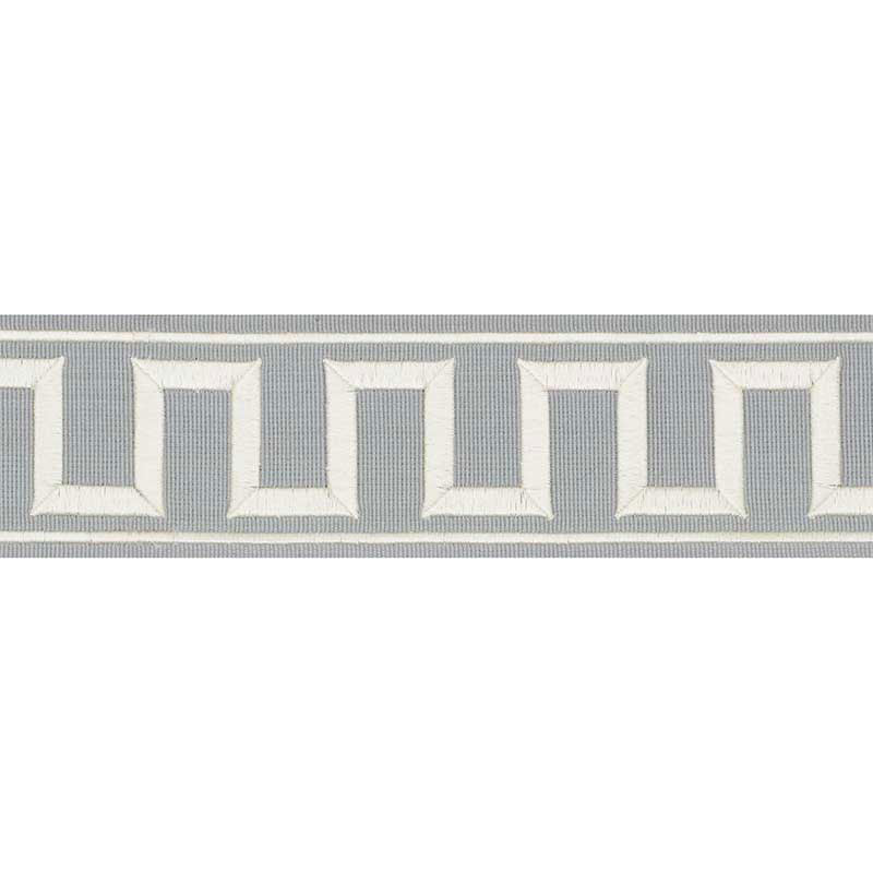 Schumacher Fabric Trim 70801 Greek Key Embroidered Tape Sky - Inside Stores