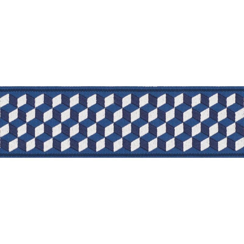 Schumacher Fabric Trim 71261 Tumbling Blocks Tape Bleu - Inside Stores