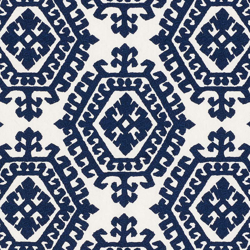 Schumacher Fabric 71941 Omar Embroidery Navy