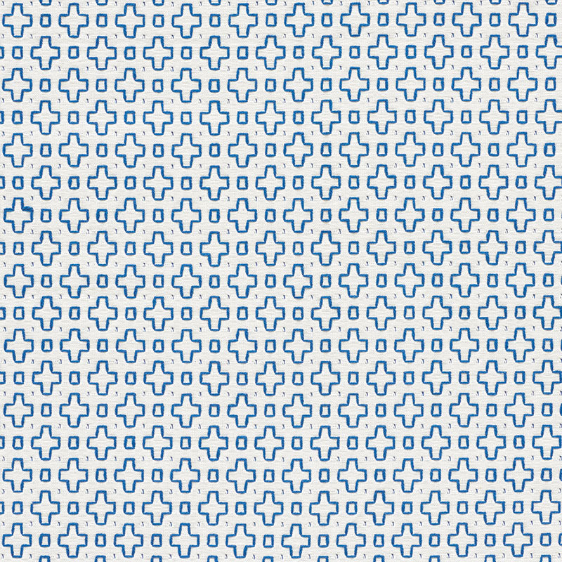Schumacher Fabric 73560 Scout Embroidery Blue