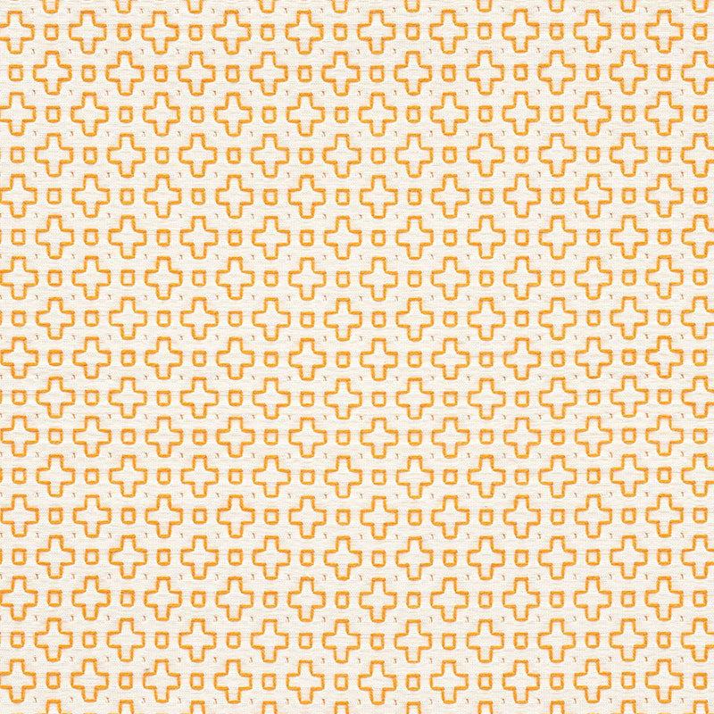 Schumacher Fabric 73562 Scout Embroidery Orange