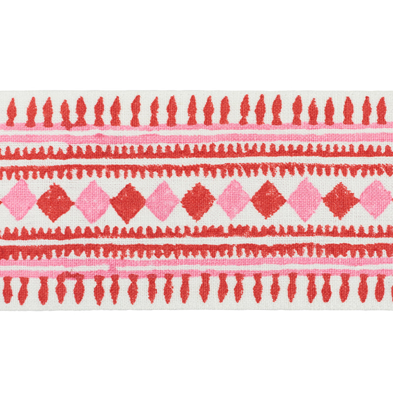 Schumacher Fabric Trim 77331 Toula Hand Blocked Linen Tape Red & Pink