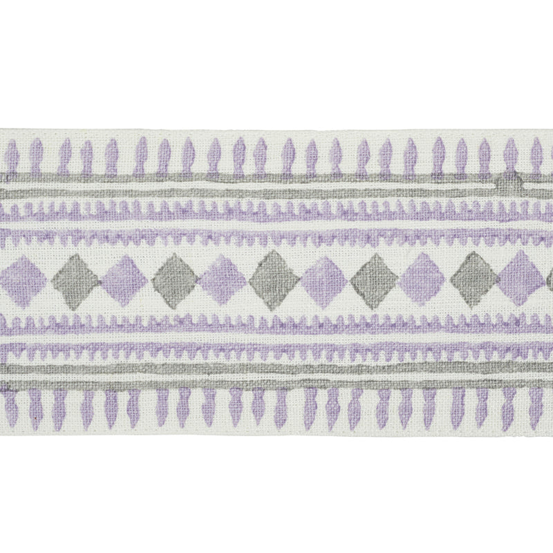 Schumacher Fabric Trim 77332 Toula Hand Blocked Linen Tape Lilac & Grey