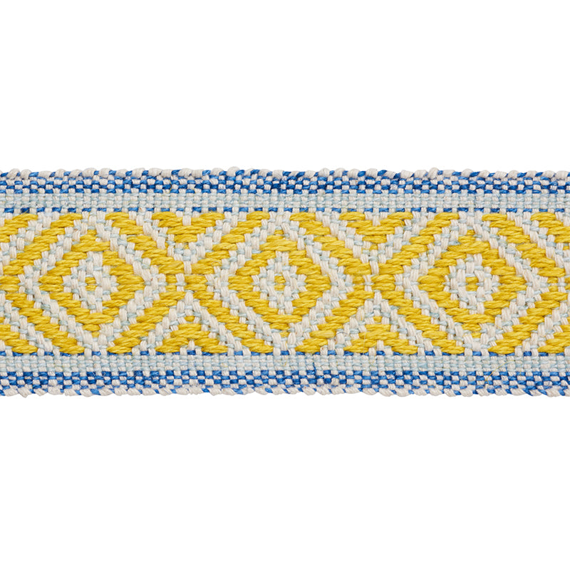 Schumacher Fabric Trim 77460 Larson Tape Yellow & Blue