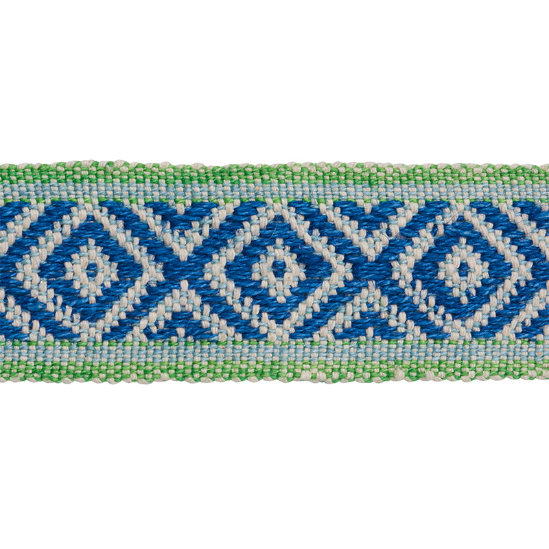 Schumacher Fabric Trim 77461 Larson Tape Blue & Green - Inside Stores