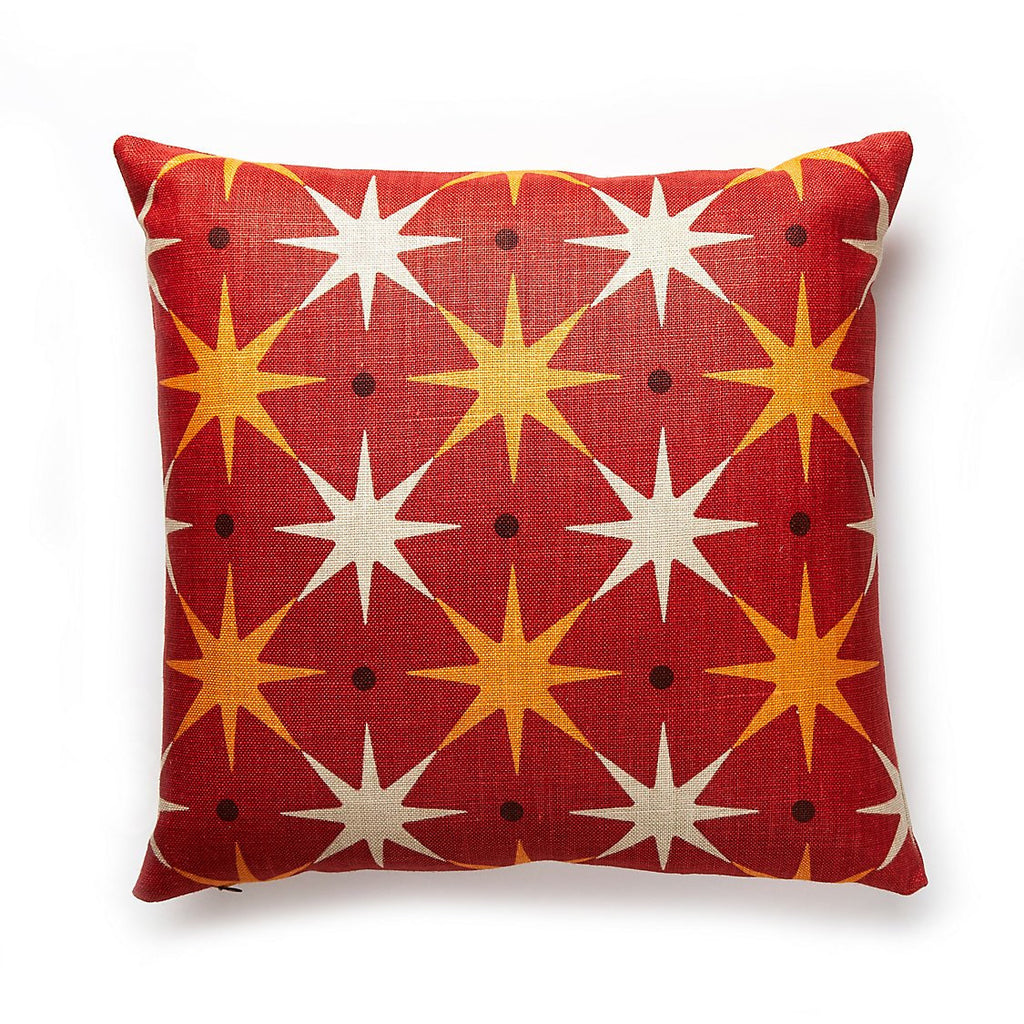 "Star Power Red 22"" Pillow by Scalamandre"