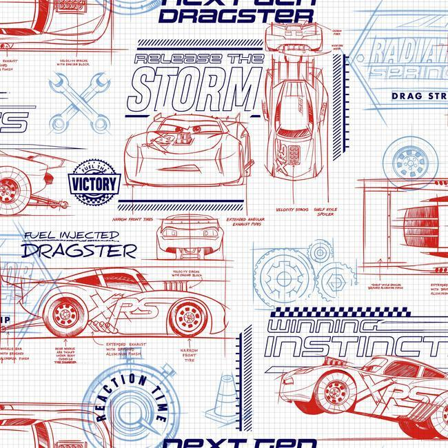 York Wallpaper DI0915 Cars Schematic - Inside Stores