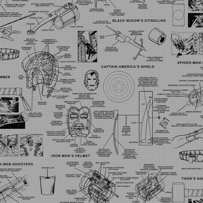 York Wallpaper DI0936 Avengers Schematic - Inside Stores