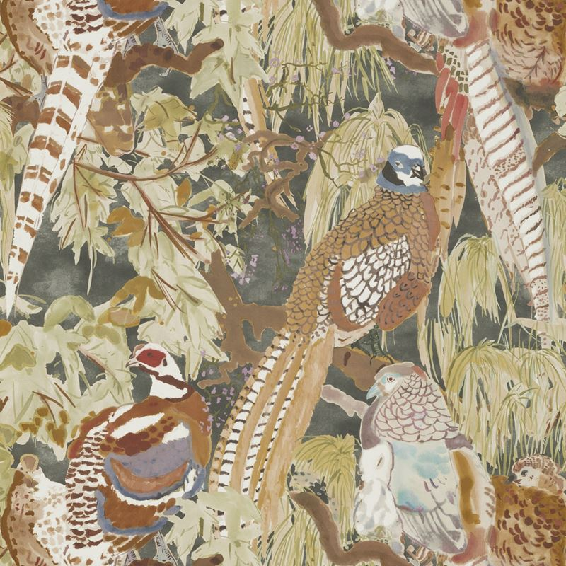 Mulberry Wallpaper FG085.A101 Game Birds Charcoal - Inside Stores