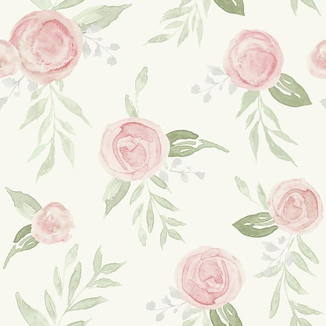 York Wallpaper PSW1013RL Watercolor Roses - Inside Stores