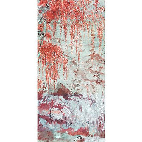 Scalamandre Wallpaper WNMCRESP2-002 Crested Crane - Panel 2 Turquoise Red - Inside Stores