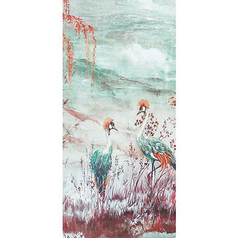 Scalamandre Wallpaper WNMCRESP3-002 Crested Crane - Panel 3 Turquoise Red - Inside Stores