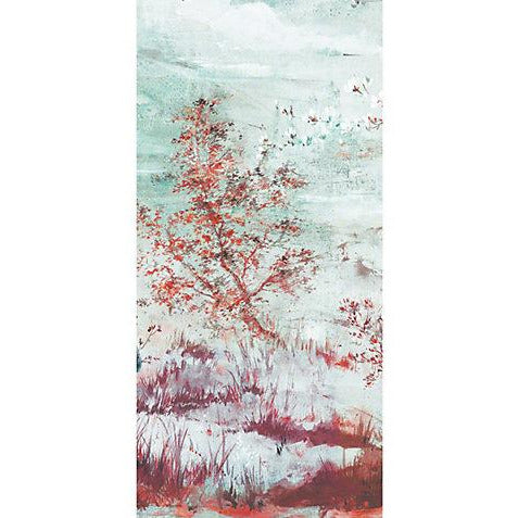 Scalamandre Wallpaper WNMCRESP4-002 Crested Crane - Panel 4 Turquoise Red - Inside Stores