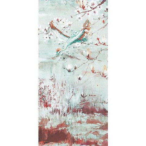 Scalamandre Wallpaper WNMCRESP5-002 Crested Crane - Panel 5 Turquoise Red - Inside Stores