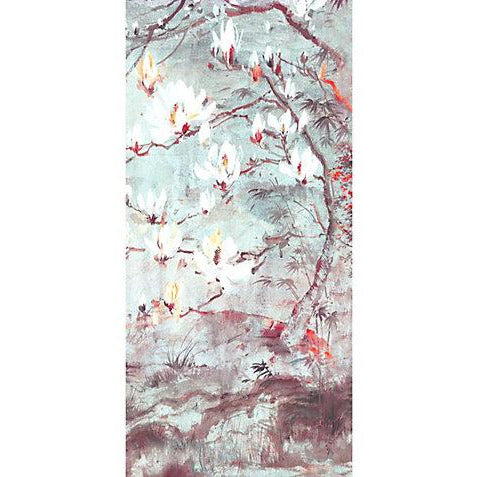 Scalamandre Wallpaper WNMCRESP6-002 Crested Crane - Panel 6 Turquoise Red - Inside Stores