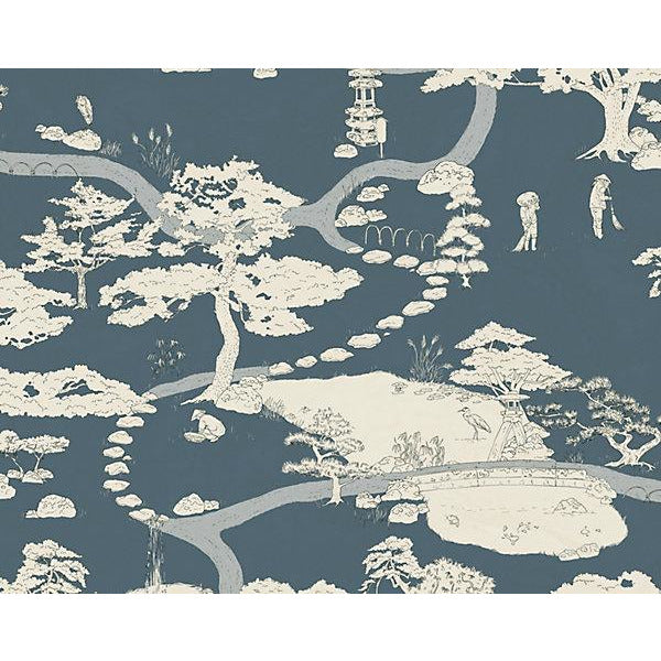 Scalamandre Wallpaper WSB0239-056 Kenrokuen Navy - Inside Stores