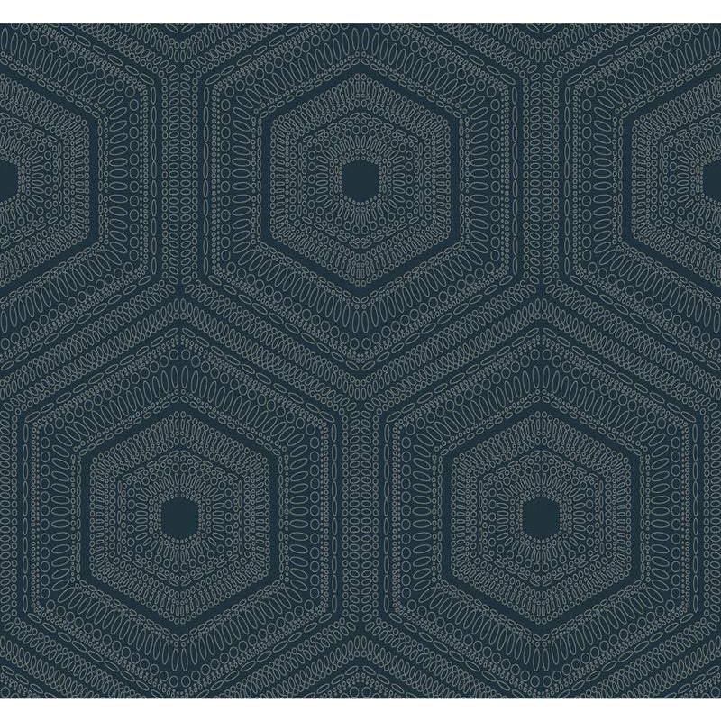 Winfield Thybony Wallpaper WTP4040.WT Concentric Groove Deep Navy
