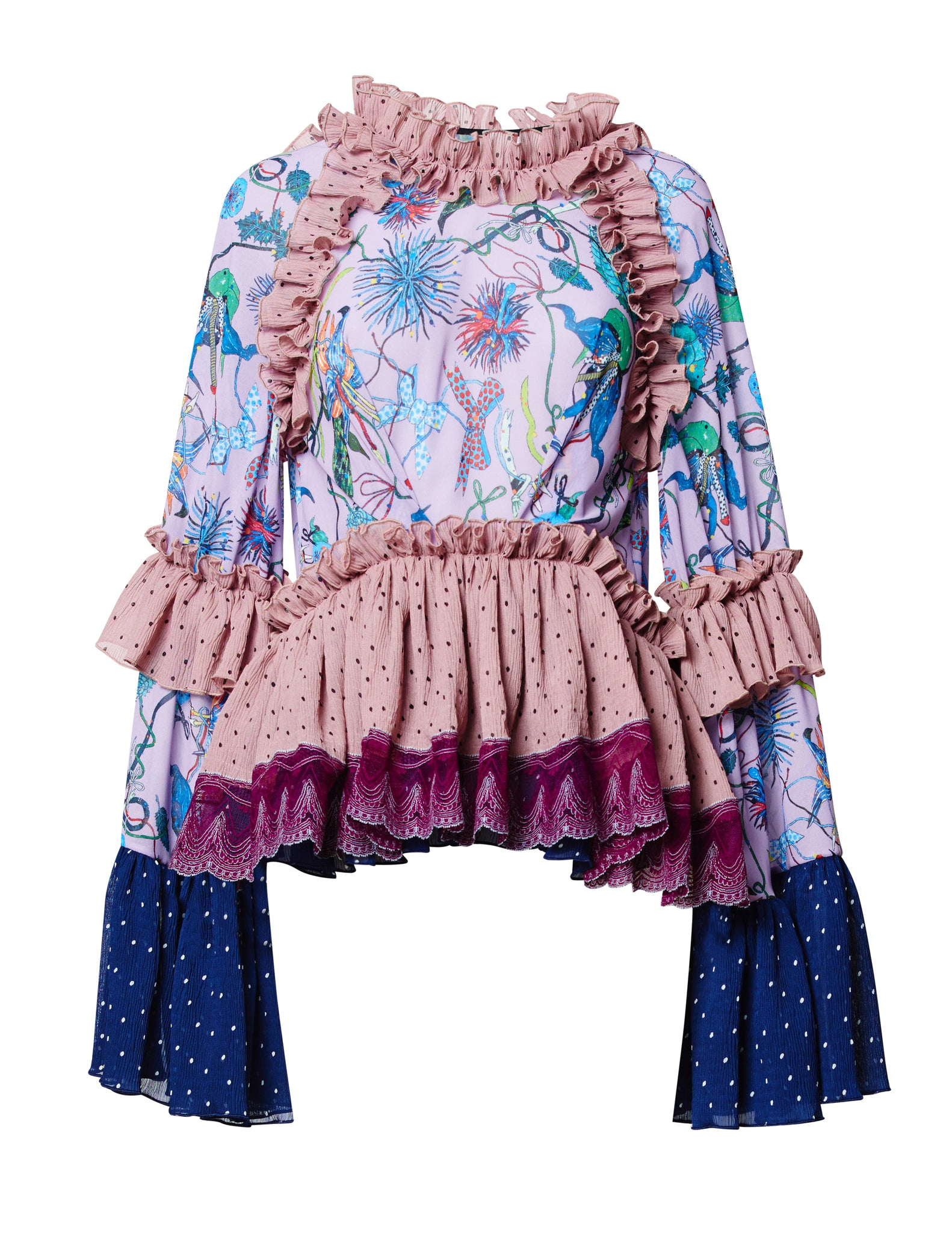 ORCHID GARDEN FRILL BLOUSE