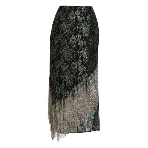 Stardust Beaded Fringe Lace Skirt