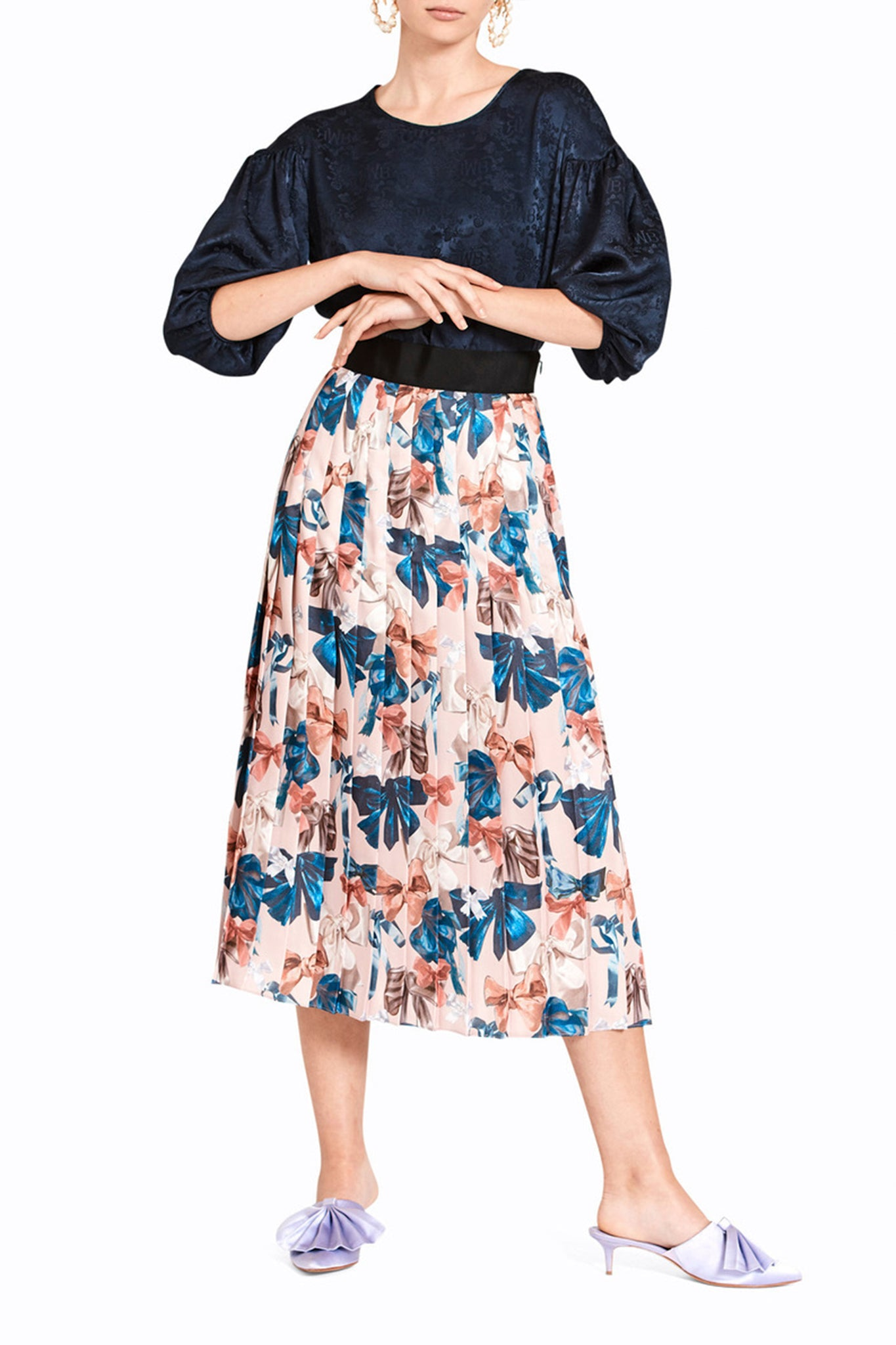 PEEK-A-BOW KNIFE PLEAT SKIRT