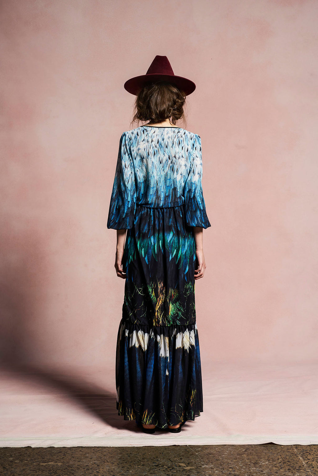 Tail Feather Chiffon Gown