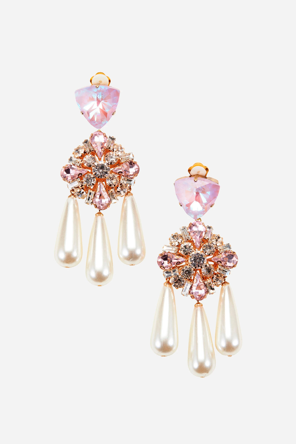 Kindness Pink Crystal & Pearl Earrings
