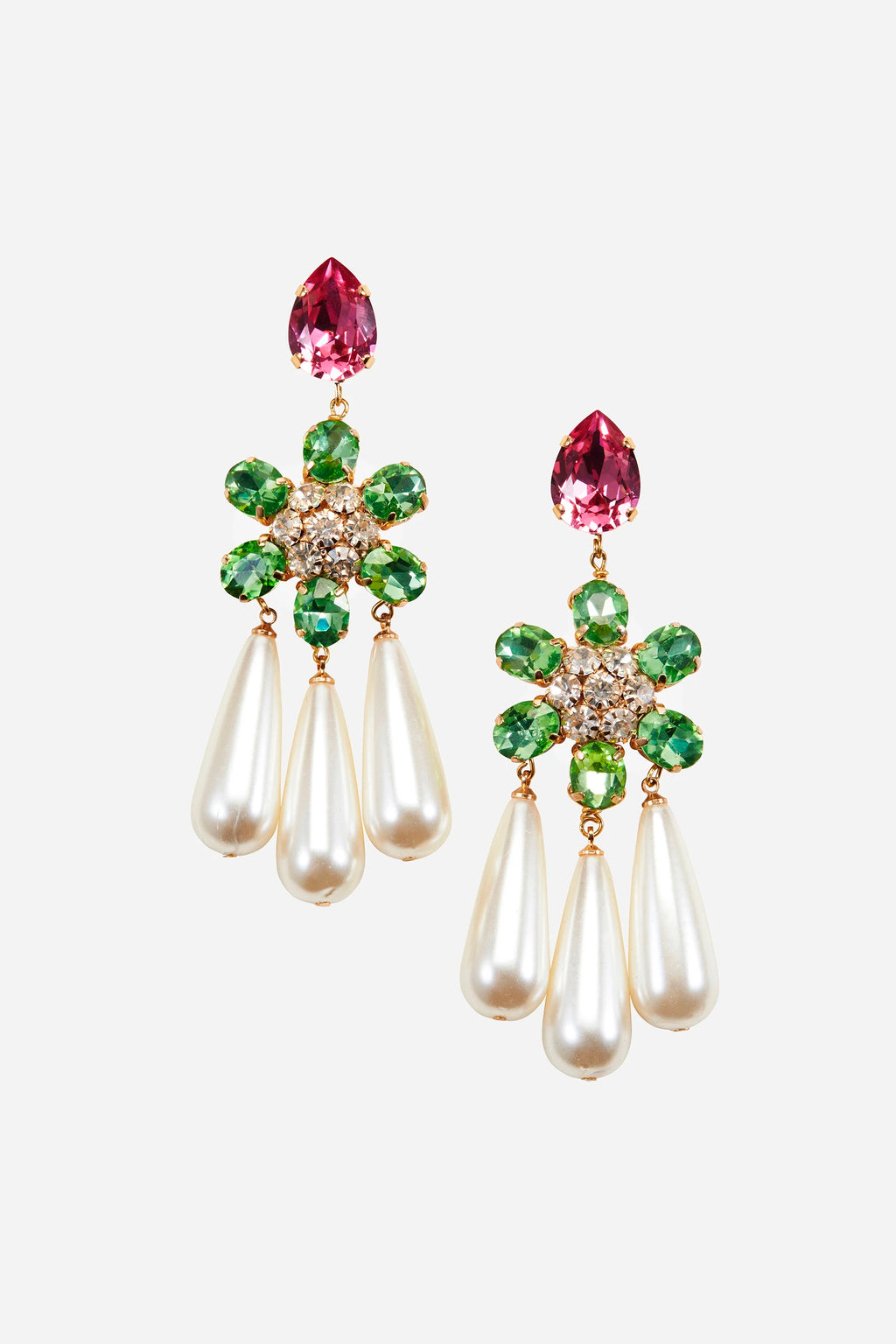 Kindness Pink & Emerald Button Pearl Earrings