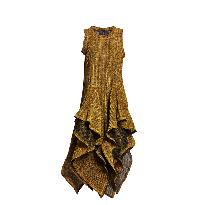 METALLIC FLUTTER DRESS
