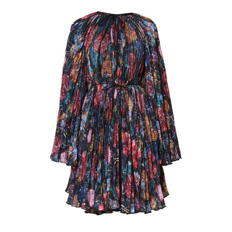 Wildflower Pleated Cape Dress